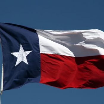 The state flag of Texas blows in the wind.